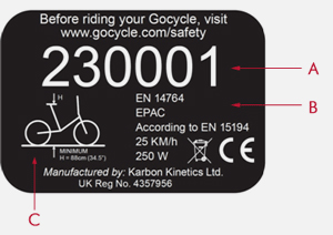 The Gocycle registration number license plate.