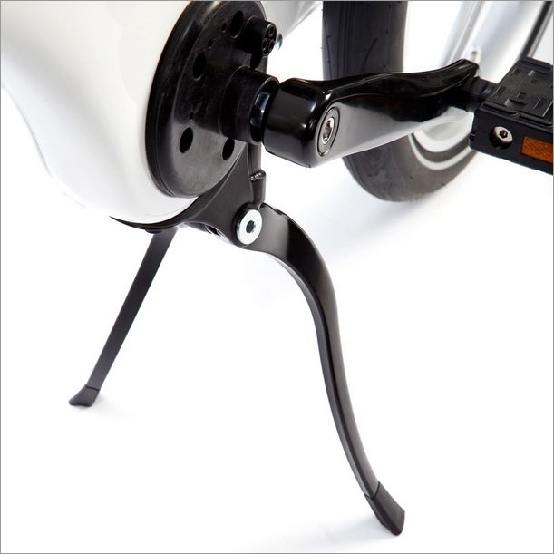 The Gocycle double kickstand is unique. The kickstand folds up neatly into the frame when stowed, and when deployed, the Gocycle double leg kickstand spreads out to keep the Gocycle standing upright and vertical unlike single sided kickstands which allow the bicycle to lean over and potentially fall.