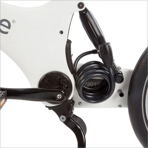 The Gocycle Shocklock can be stored neatly next to the Cleandrive and is a coffee shop security light duty cable lock that comes standard with every Gocycle.