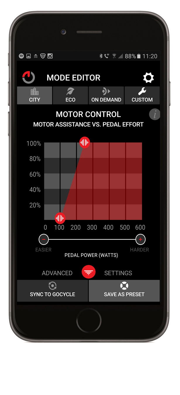 The GocycleConnect App allows the rider to control the level of assistance that the motor provide compared to the input the rider makes to the pedals.