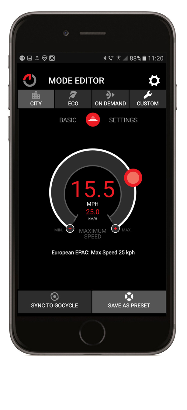 The GocycleConnect App allows the rider to customize and personalise the Gocycle to suit your riding style such as setting the speed and choosing assistance levels like city, eco, and custom motor settings.