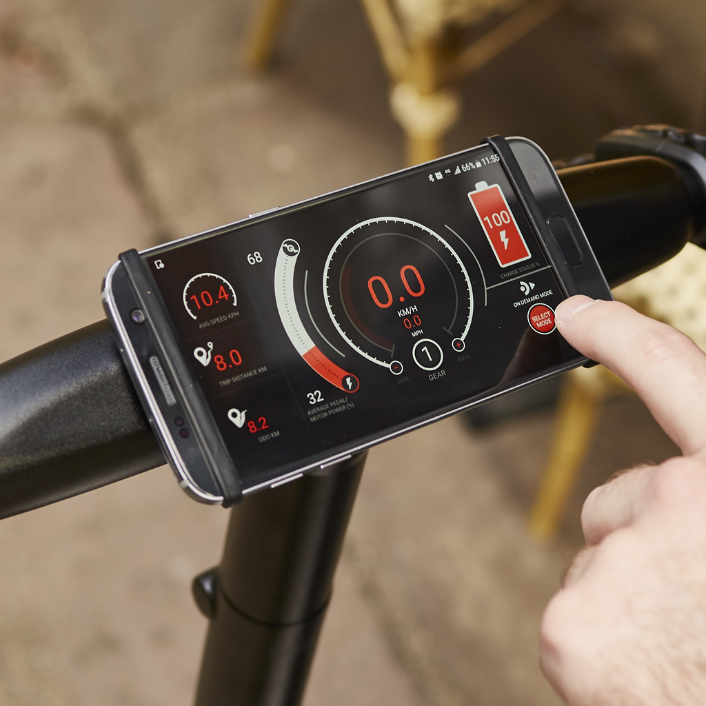 The GocycleConnect App enables you to customise your Gocycle's riding characteristics.