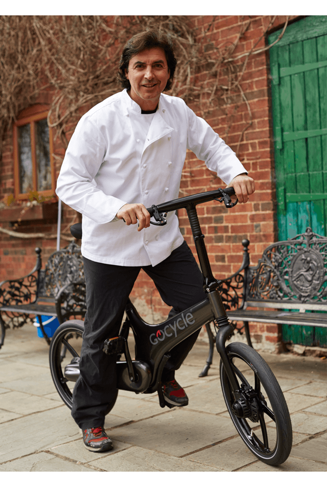 Jean-Christophe Novelli on his Gocycle.