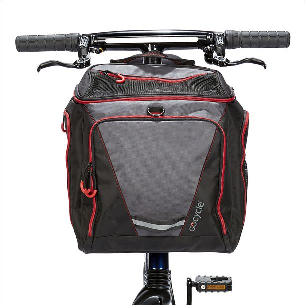 Front view of the Gocycle front pannier which is made from lightweight fabrics.