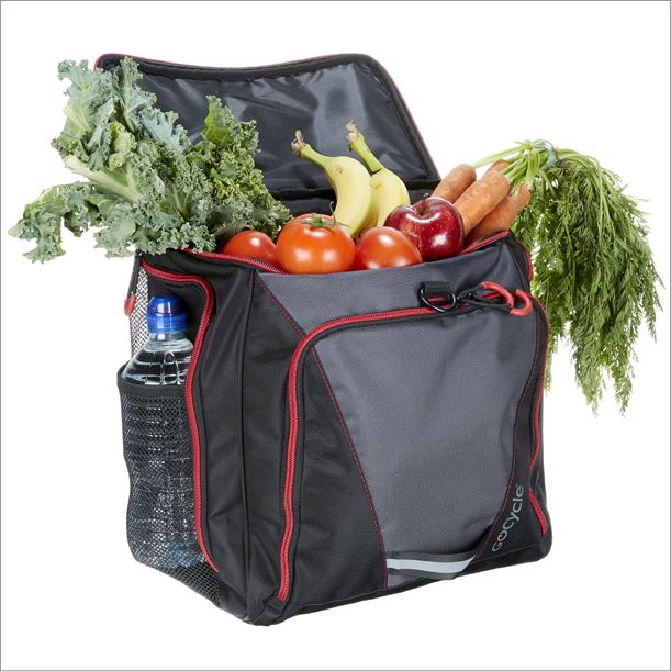 The Gocycle front pannier is very convenient for shopping and can carry many items such as groceries.