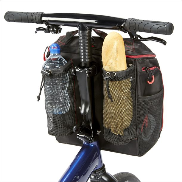 The Gocycle front pannier has rear pouches to carry items such as a baguette or a water bottle.