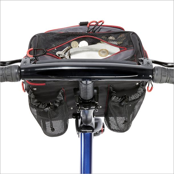 The Gocycle front pannier has a top pouch that is convenient to access with handy zip pullers and is see through so you can see what you have in the top pouch such as a map, spare change, or your wallet.