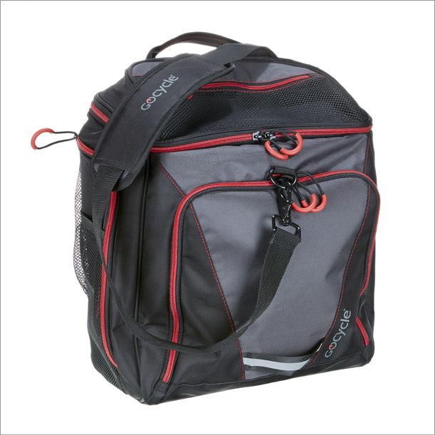 The Gocycle front pannier has a shoulder strap also which makes it easy to carry.