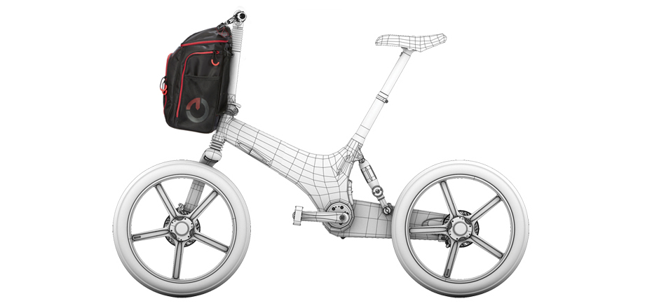 The Gocycle front pannier can be fitted to a G2, G3, or GS.