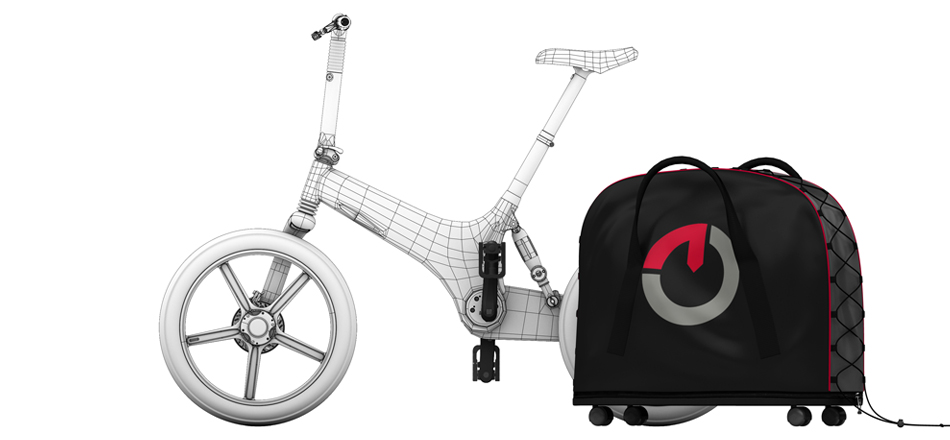The portable docking station has a cover that can be zipped around the folded Gocycle for convenient storage. The portable docking station rolls on four wheels for easy transport.