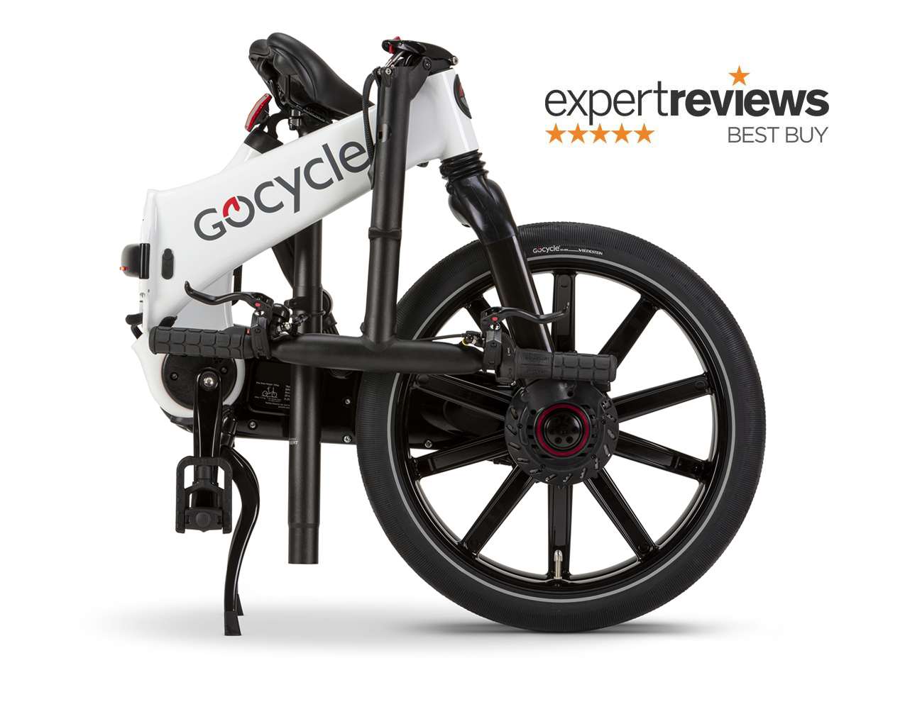 The portable docking station makes storing and folding up the Gocycle electric bike easy.