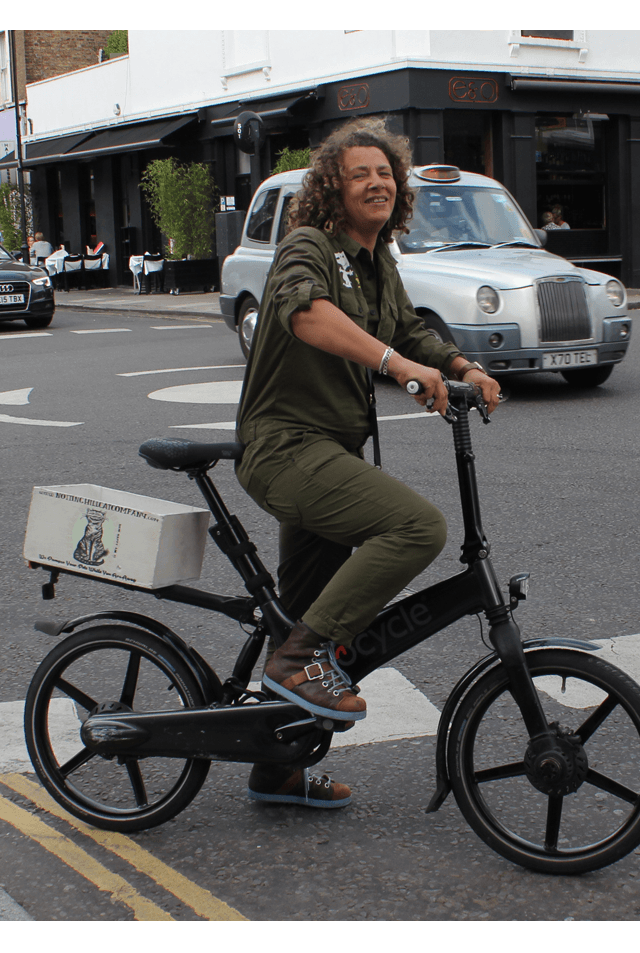 Dominique Urquhart on her Gocycle.
