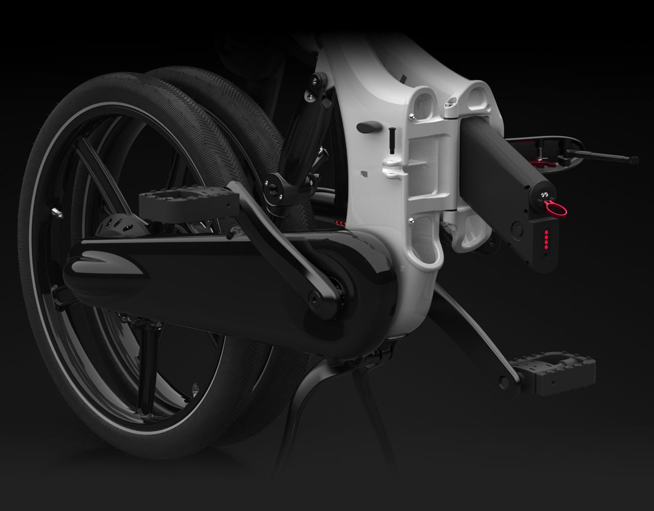 Compared to traditional bicycle frame sizes, the Gocycle's frame can fit more people more comfortably because of the Vgonomic frame design which provides reach adjustment, effective top tube adjustment, and a longer wheel base, yet with a shorter and more compact overall length.